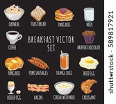 breakfast cartoon vector set ... | Shutterstock .eps vector #589817921