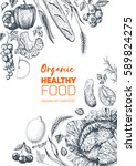 healthy food frame vector... | Shutterstock .eps vector #589824275