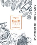 healthy food frame vector... | Shutterstock .eps vector #589824299
