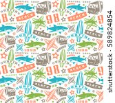 surfing seamless pattern | Shutterstock .eps vector #589824854