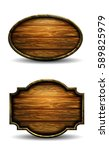 wooden signs  vector icon set | Shutterstock .eps vector #589825979