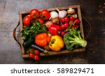 fresh vegetables in wooden box... | Shutterstock . vector #589829471