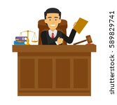 judge character working at the... | Shutterstock .eps vector #589829741
