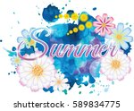 background with watercolor and...   Shutterstock .eps vector #589834775