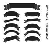 black ribbon banners set.... | Shutterstock .eps vector #589839635