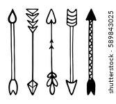 set of tribal black hand... | Shutterstock .eps vector #589843025