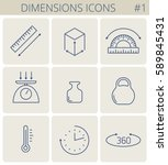 dimensions and measure outline... | Shutterstock .eps vector #589845431