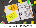 Small photo of Open notepad with affiliate marketing sketch
