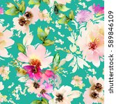 seamless summer pattern with... | Shutterstock . vector #589846109