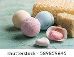 spa still life  pink heart...   Shutterstock . vector #589859645