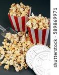 cinema concept with popcorn | Shutterstock . vector #589869971