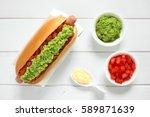 chilean completo italiano ... | Shutterstock . vector #589871639