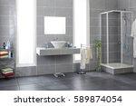 bathroom with gray tiles | Shutterstock . vector #589874054