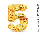 a set of emoticons shaped as... | Shutterstock .eps vector #589874435