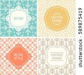 set of vintage frames in cyan ... | Shutterstock .eps vector #589875419