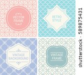 set of vintage frames in pink ... | Shutterstock .eps vector #589875431