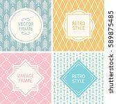 set of vintage frames in grey ... | Shutterstock .eps vector #589875485