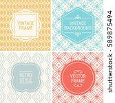 set of vintage frames in gold ... | Shutterstock .eps vector #589875494