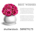 bouquet of roses in flowerpot... | Shutterstock .eps vector #589879175