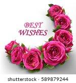 roses flowers festive border... | Shutterstock .eps vector #589879244