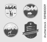 set of four stickers for... | Shutterstock .eps vector #589880009