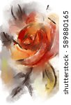 orange roses. drawing ink and... | Shutterstock . vector #589880165