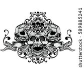gothic coat of arms with skull  ... | Shutterstock .eps vector #589885241