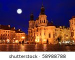 the old town square at night in ... | Shutterstock . vector #58988788
