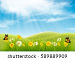 Stock vector spring nature landscape background with flowers and butterflies vector 589889909
