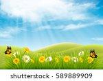 spring nature landscape... | Shutterstock .eps vector #589889909