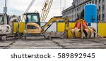 Diggers On Construction Site
