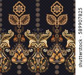 Stock photo indian seamless pattern wallpaper with paisley ethnic style 589907825