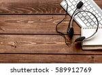 call center manager desktop top ...   Shutterstock . vector #589912769