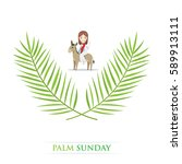 palm sunday   jesus is riding a ... | Shutterstock .eps vector #589913111