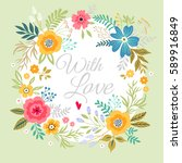 floral wreath on white... | Shutterstock .eps vector #589916849
