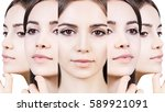 collage of young woman face. | Shutterstock . vector #589921091