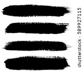 set of grunge brush strokes.... | Shutterstock .eps vector #589927115
