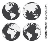 Set Of Globe Earth Icons. Flat...