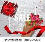 banner for women's day sale...   Shutterstock .eps vector #589929371