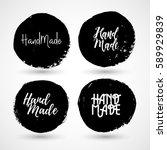 set of vintage hand made... | Shutterstock .eps vector #589929839
