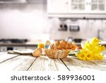 spring breakfast in the morning ... | Shutterstock . vector #589936001