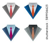 set of four suits with ties... | Shutterstock .eps vector #589936625