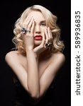 sexy beautiful blonde girl with ...   Shutterstock . vector #589936835
