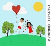 boy and girl in love flying on... | Shutterstock . vector #589937975
