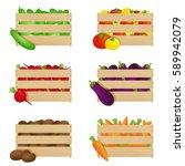 vegetables in wooden boxes. set ... | Shutterstock . vector #589942079