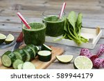detox drink made from spinach ... | Shutterstock . vector #589944179
