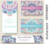 set of ethnic ornament banners... | Shutterstock .eps vector #589948889