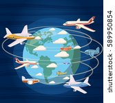 airplanes around the world... | Shutterstock . vector #589950854