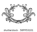 decorative floral frame... | Shutterstock .eps vector #589953101