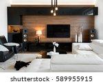 modern living room interior of... | Shutterstock . vector #589955915